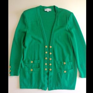 St. John Collection Green Cardigan w/Gold Buttons